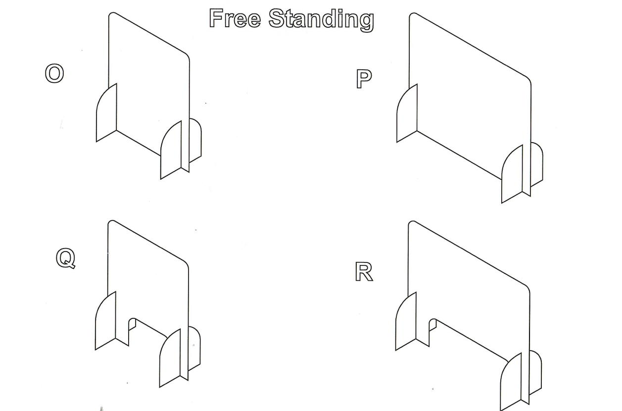 Flat Pack Free Standing Sneeze Guards from Collins Plastics