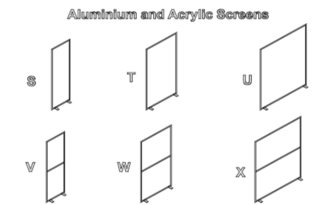 Aluminium and acrylic screens S-X