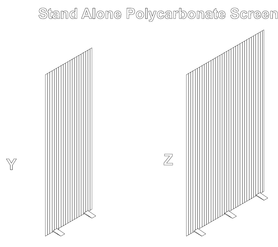 Type D - Polycarbonate Free Standing Screens with feet