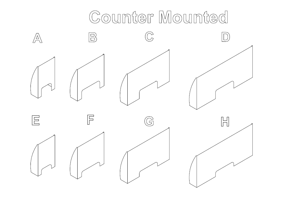 Counter Mounted Sneeze Guards A-H